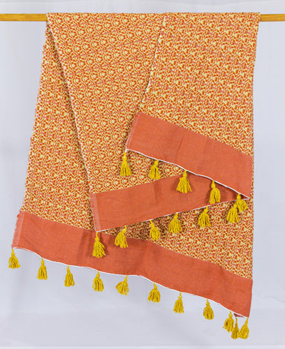 Wool Design Blanket: Orange with Mustard Yellow Pom Poms