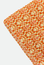 Load image into Gallery viewer, Wool Design Blanket: Orange with Mustard Yellow Pom Poms