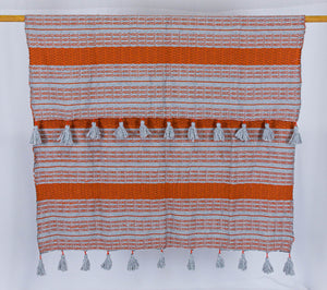 Wool Design Blanket: Grey with Orange Stripes and Grey Pom Poms