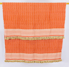 Load image into Gallery viewer, Wool Design Blanket: Orange with Tan Stripes and Tan Tassels