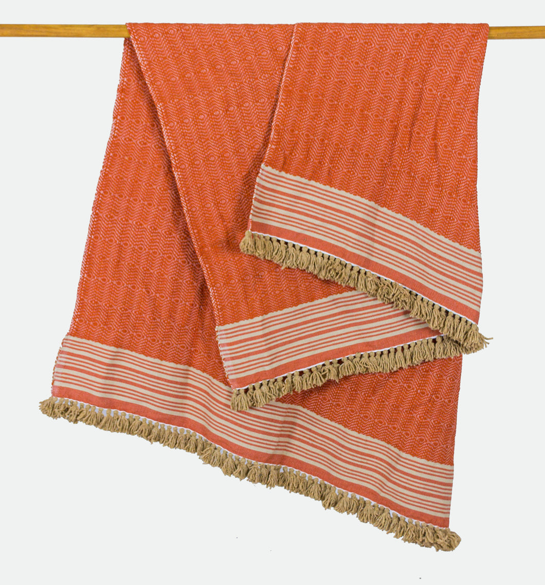 Wool Design Blanket: Orange with Tan Stripes and Tan Tassels