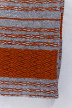 Load image into Gallery viewer, Wool Design Blanket: Grey with Orange Stripes and Grey Pom Poms