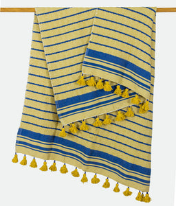 Wool Design Blanket: Yellow with Blue Stripes and Mustard Yellow Tassels