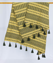 Load image into Gallery viewer, Wool Design Blanket: Mustard Yellow with Brown Design and Brown Tassels
