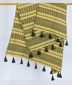Wool Design Blanket: Mustard Yellow with Brown Design and Brown Tassels