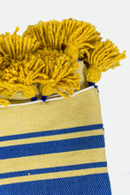 Load image into Gallery viewer, Wool Design Blanket: Yellow with Blue Stripes and Mustard Yellow Tassels