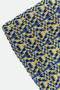 Wool Design Blanket: Blue and Mustard Yellow Design with Mustard Yellow Pom Poms/ Tassels