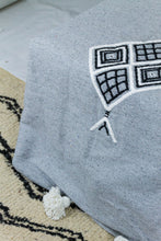 Load image into Gallery viewer, Embroidered Throw: Light Grey Throw with Stacked Diamond Patterns and White Pom Poms