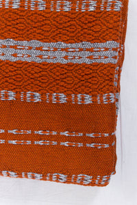 Wool Design Blanket: Bright Orange with Grey Wrapped Tassels