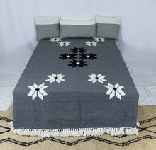 Load image into Gallery viewer, Embroidered Throw: Grey Throw with Small Star Patterns and White Fringe