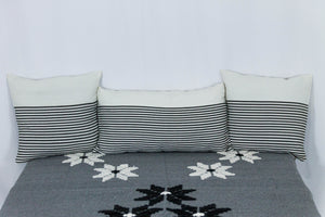 Embroidered Throw: Grey Throw with Small Star Patterns and White Fringe