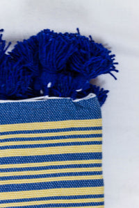Wool Design Blanket: Blue with Yellow Stripes and Blue Tassels