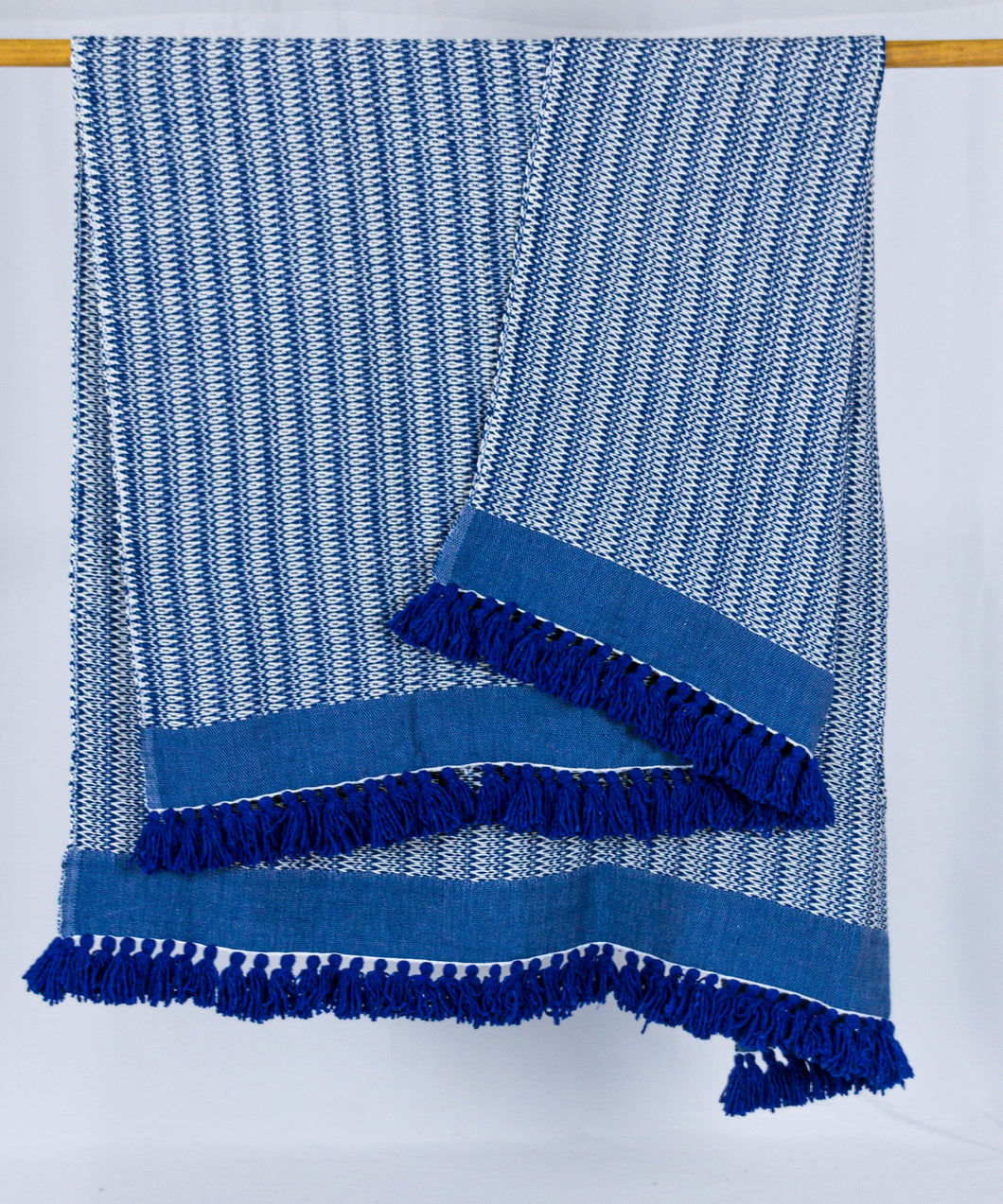 Wool Design Blanket: Blue and White with Blue Band and Blue Tassels