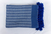 Load image into Gallery viewer, Wool Design Blanket: Blue and White with Blue Band and Blue Tassels