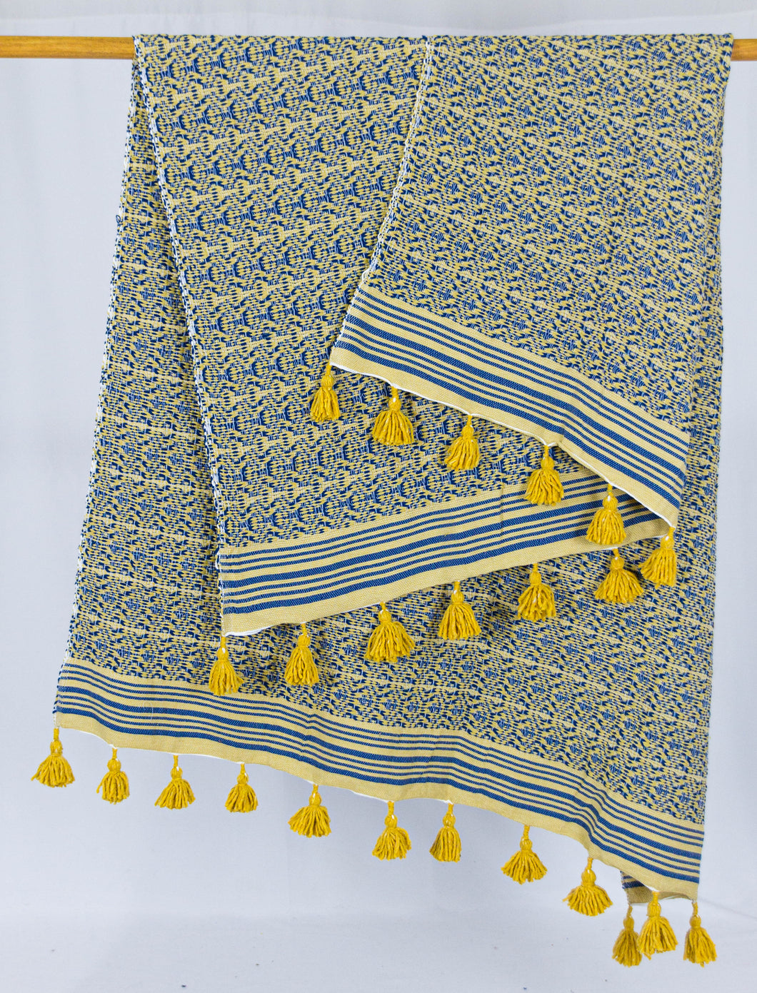 Wool Design Blanket: Yellow with Blue Design and Mustard Yellow Pom Poms