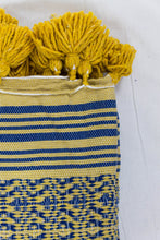 Load image into Gallery viewer, Wool Design Blanket: Yellow with Blue Design and Mustard Yellow Pom Poms