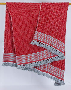 Wool Design Blanket: Red with Grey Stripes and Grey Tassels