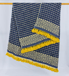 Wool Design Blanket: Navy Blue with Mustard Yellow Pom Poms, Design 2