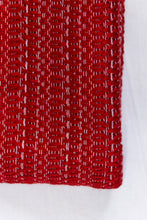Load image into Gallery viewer, Wool Design Blanket: Red with Grey Stripes and Grey Tassels