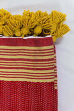 Load image into Gallery viewer, Wool Design Blanket: Red with Mustard Yellow Stripes and Mustard Yellow Pom Poms