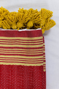 Wool Design Blanket: Red with Mustard Yellow Stripes and Mustard Yellow Pom Poms