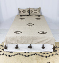Load image into Gallery viewer, Embroidered Throw: Beige Throw with Brown Design and Brown Pom Poms