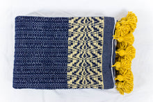 Load image into Gallery viewer, Wool Design Blanket: Navy Blue with Mustard Yellow Pom Poms