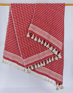 Wool Design Blanket: Red with Cream Stripes and Cream Tassels