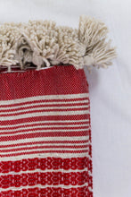 Load image into Gallery viewer, Wool Design Blanket: Red with Cream Stripes and Cream Tassels