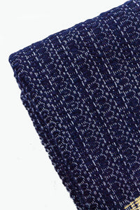 Wool Design Blanket: Navy Blue with Mustard Yellow Pom Poms