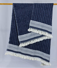 Load image into Gallery viewer, Wool Design Blanket: Navy Blue with White Stripes and White Tassels 2