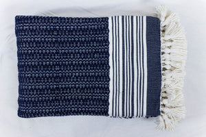 Wool Design Blanket: Navy Blue with White Stripes and White Tassels 2