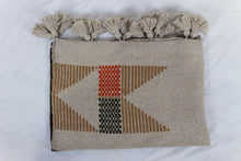 Load image into Gallery viewer, Embroidered Throw: Beige and Orange Geometric Designs with Beige Pom Poms
