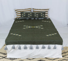 Load image into Gallery viewer, Embroidered Throw: Black Throw with Beige Cross Design and Grey Pom Poms