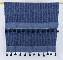 Load image into Gallery viewer, Wool Design Blanket: Navy Blue with Black Pom Poms