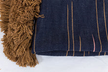 Load image into Gallery viewer, Embroidered Throw: Blue and Mustard with Mustard Pom Poms