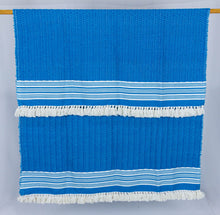 Load image into Gallery viewer, Wool Design Blanket: Cerulean Blue with White Tassels
