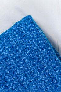 Wool Design Blanket: Cerulean Blue with White Tassels
