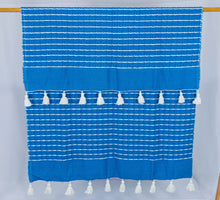 Load image into Gallery viewer, Wool Design Blanket: Cerulean Blue with White Stripes and White Pom Poms