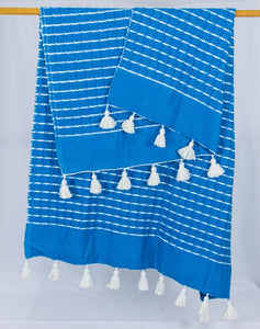 Wool Design Blanket: Cerulean Blue with White Stripes and White Pom Poms