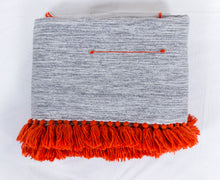 Load image into Gallery viewer, Embroidered Throw: Grey Throw with Red Linear Design and Red Fringe