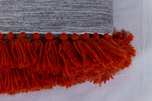 Embroidered Throw: Grey Throw with Red Linear Design and Red Fringe