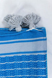 Wool Design Blanket: Cerulean Blue with Thin Grey Stripes and Grey Pom Poms