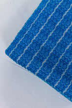 Load image into Gallery viewer, Wool Design Blanket: Cerulean Blue with Thin Grey Stripes and Grey Pom Poms