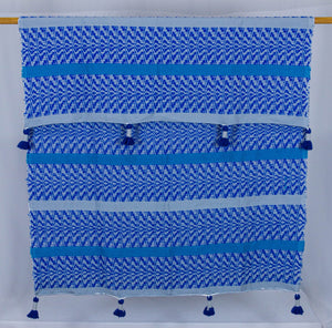 Wool Design Blanket: Blue Designs with Wrapped Blue Tassels