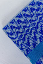 Load image into Gallery viewer, Wool Design Blanket: Blue Designs with Wrapped Blue Tassels