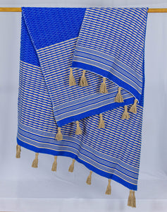 Wool Design Blanket: Cerulean Blue with Tan Checkered Stripes and Wrapped Tan Tassels