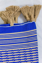 Load image into Gallery viewer, Wool Design Blanket: Cerulean Blue with Tan Checkered Stripes and Wrapped Tan Tassels