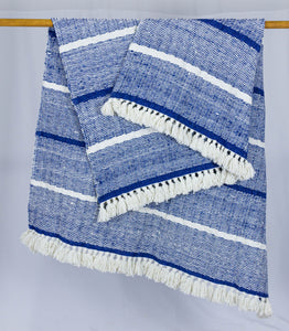 Wool Design Blanket: Blue and White with White Tassels