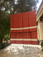 Load image into Gallery viewer, Oversized Scarf- Black Base, Rust Orange with White Stripe